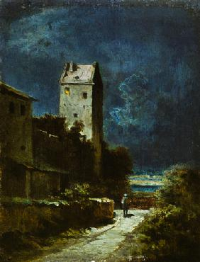 Nightly landscape with night watchman