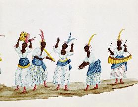 Queen and her Suite, detail depicting dancers and musicians  on
