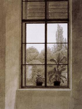 Friedrich, Caspar David : Window w.view o.park