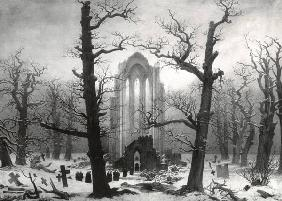 Cloister Cemetery in the Snow (burned 1945) historic photo (1902)