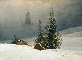 Winter landscape with church