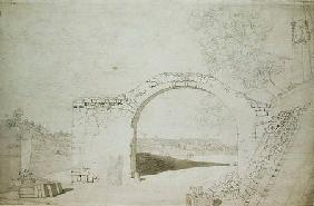 River Landscape with an Arch (unfinished) (pencil, pen and w/c on
