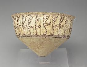 Conical bowl with a leopard design, 3500-3000 BC