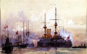 The Prince George at Spithead. The Naval Requiem of Queen Victoria