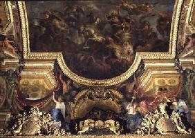 Passage on the Rhine in the Presence of the Enemies 1672, Ceiling Painting from the Galerie des Glac