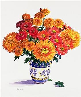 October Chrysanthemums (w/c on paper)