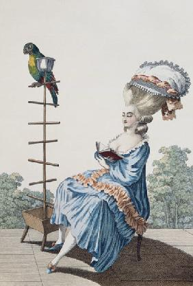 Young woman reading in a day dress with an elaborate hairstyle and bonnet, plate 20 from 'Galerie de