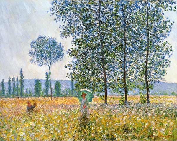Fields in Spring - oil painting of Claude Monet as art print or hand painted oil.