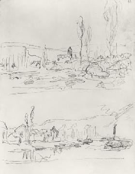 Two Sketches: Vetheuil from L'Ile St-Martin and Tugboat on the Seine before Lavacourt