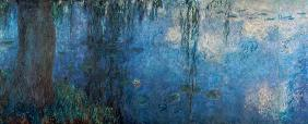 Waterlilies: Morning with Weeping Willows, detail of the left section
