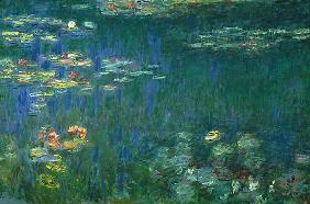 Water Lilies, Green Reflections, Left Part um 1917-21
