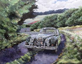 Jaguar XK150 Cruising (oil on canvas)
