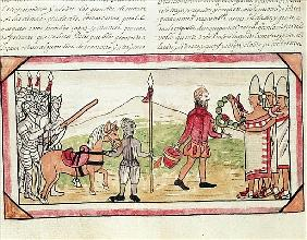 Fol.208v Meeting of Hernando Cortes (1485-1547) and Montezuma (1466-1520), miniature from the ''Hist