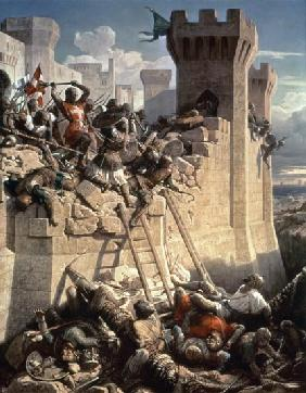 Guillaume de Clermont defending Ptolemais (Acre) in 1291