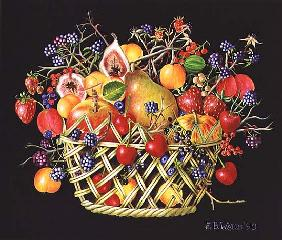 Fruit in a Basket with Black Background, 1990 (acrylic)