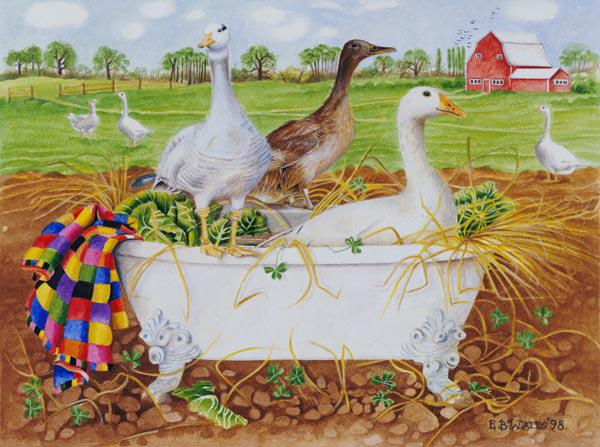 Geese in Bathtub, 1998 (acrylic on paper)