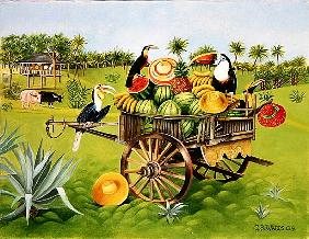 Toucans and Watermelons in Old Thai Cart