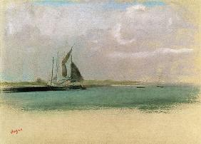 Degas, Edgar : Fishing boats moored in th...