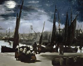 Moonlight over Boulogne Harbour
