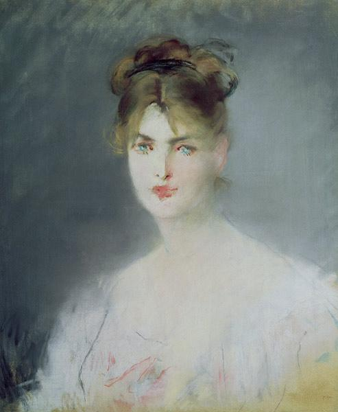 Portrait of a Young Woman with Blonde Hair and Blue Eyes