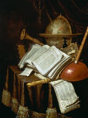 Vanitas with a globe, musical scores and instruments
