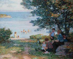 Mothers with children on the shady shore