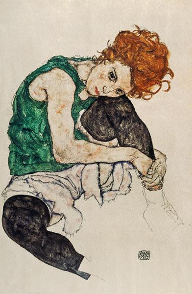 Schiele, Egon : Sitting woman with a knee ...