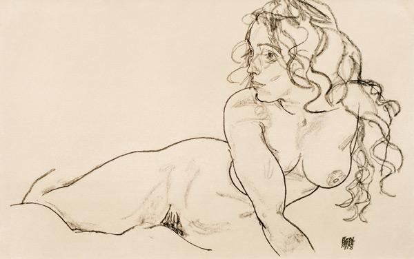 Schiele, Egon : Female act with long hair ...