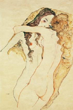 Two women in embrace