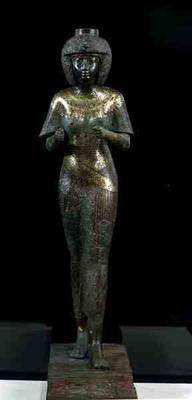 Statue of the Divine Adoratress Karomama, Third Intermediate Period (bronze with gold, silver & elec