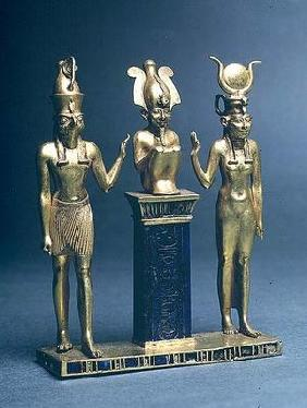 Triad of Osorkon II: Osiris flanked by Isis and Horus, Third Intermediate Period, c.874-850 BC (gold