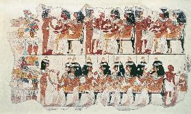 Banquet scene, from Thebes