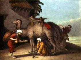 Two Camels with Attendants