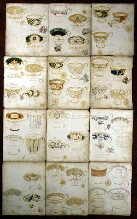 Designs for teacups produced at the Daniel Factory, Staffordshire