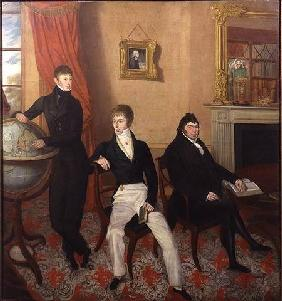 Group Portrait of Three Men in an Elaborate Sitting Room Interior