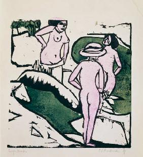 Kirchner, Ernst Ludwig : Three women taking a bath