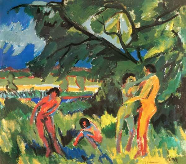 Kirchner Ernst Ludwig - Nudes Playing under Tree