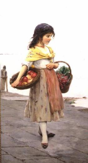 von Blaas, Eugen : Young Girl Selling Fruits ...
