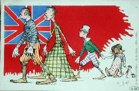 British family as perceived by the French, postcard (colour litho)