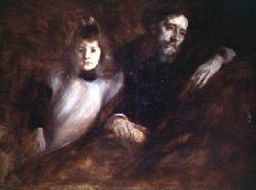 Portrait of Alphonse Daudet (1840-97) and his daughter Edmee