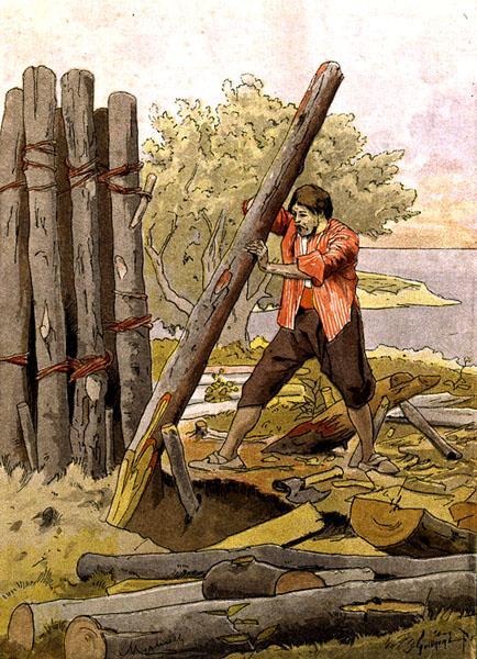 Robinson Crusoe Building His First Dwell Felicien Baron