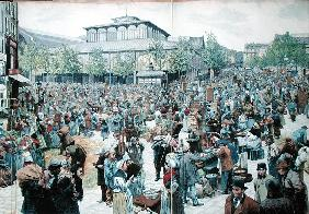 View of Les Halles, 1885 (colour litho)