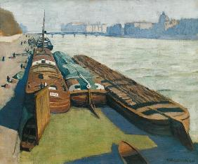 Paris/Barges on the Seine Bank/Vallotton