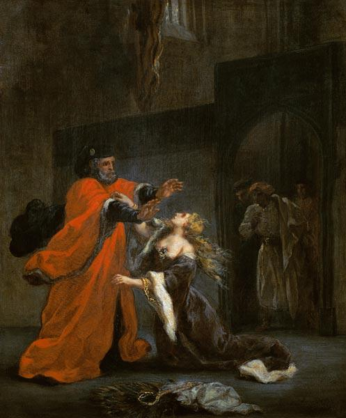 Desdémona throws himself to Füssen of her father.