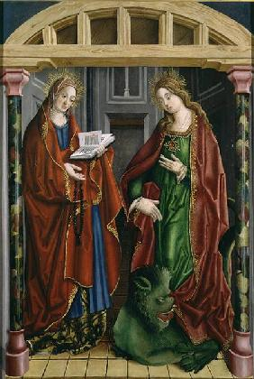 Two female saints, possibly St. Mary Magdalene and St. Martha
