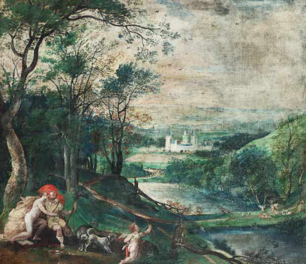 Venus and Adonis in a wooded Landscape in front of Castle Beersel