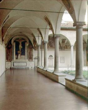 View of the Cloister of S. Antonino with the 'Crucifixion with St. Dominic'