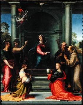 Bartolommeo, Fra : The Annunciation with Sain...