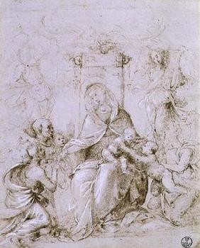 Bartolommeo, Fra : Madonna and Child enthrone...