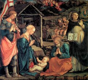 The Adoration of the Christ Child with Saint George and Saint Vincent Ferrer